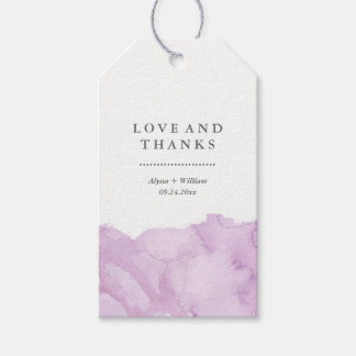 Minimalist Modern Purple Watercolor Wedding Favor Gift Tags