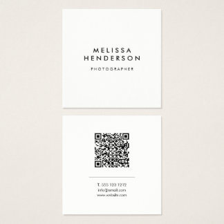 Minimalist Modern QR Code Square Business Card