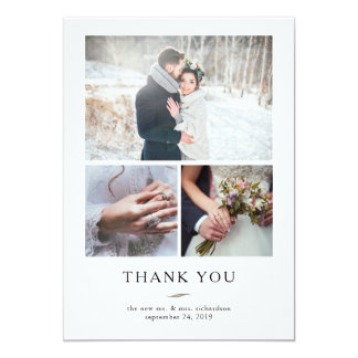 Minimalist Modern Wedding Thank You | Three Photos Card