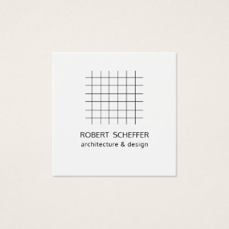 Minimalist Modern White Graph Architect Designer Square Business Card