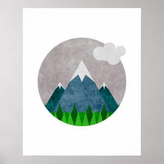 Minimalist Mountains Art Poster