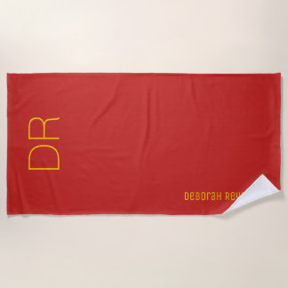 minimalist name + initials on an elegant red beach towel