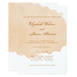 Minimalist Orange Brush Wedding Invitation Card