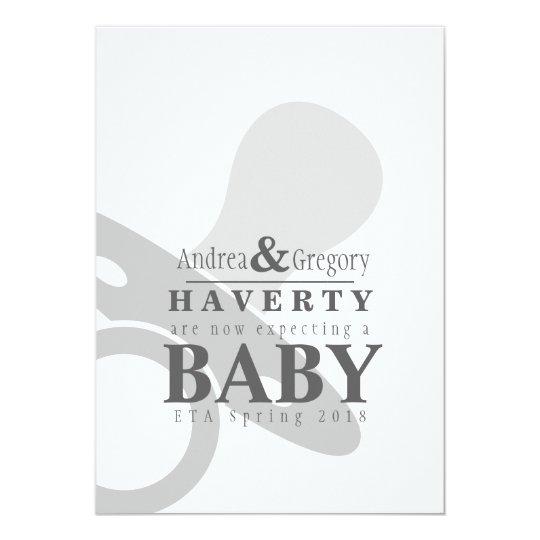 Minimalist Pacifier Simple Pregnancy Announcement