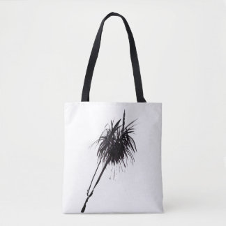 Minimalist palm ink drawing tote bag