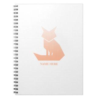 Minimalist Peach Gradient Fox Spiral Notebook