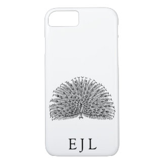 Minimalist Peacock Illustration Custom Initials iPhone 8/7 Case
