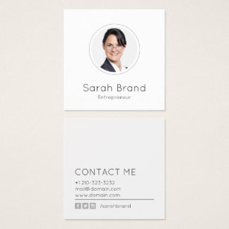 Minimalist Personal Photo Square Business Card
