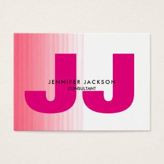 Minimalist Pink White Monogram Trendy Modern Business Card