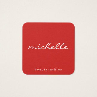 Minimalist Plain White with Cursive Text / Red Square Business Card