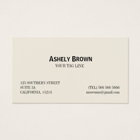 Minimalist Professional Elegant Cream and White Business Card