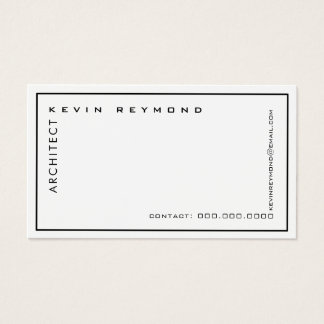 minimalist professional elegant white architect business card