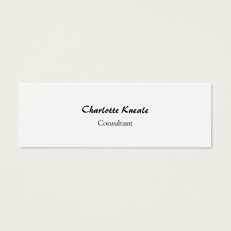 Minimalist Professional Simple Plain White Slim Mini Business Card