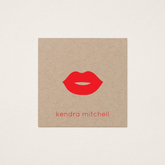 Minimalist Red Lips Logo Makeup Artist Kraft Square