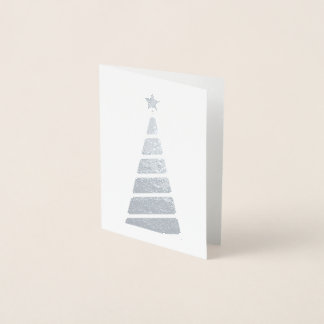 Minimalist Silver Christmas Tree Foil Card