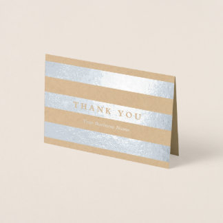 Minimalist Silver Stripes Thank You Foil Card