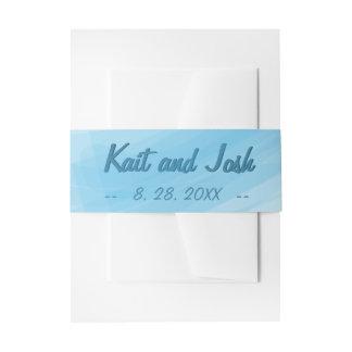 Minimalist Soft Ambiance Blue Watercolor Wedding Invitation Belly Band