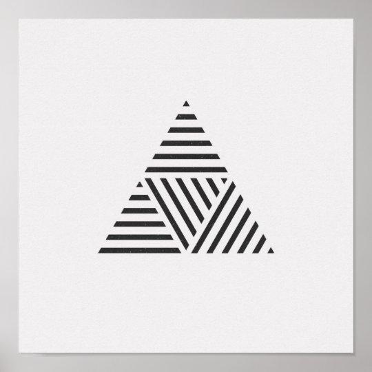 Minimalist Striped Triangle Black and White Poster