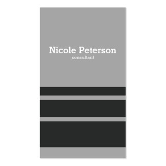 Minimalist stripes classic grey pack of standard business cards