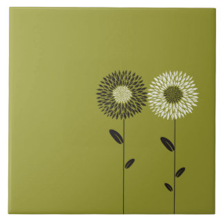 Minimalist Sunflower Custom Color Ceramic Tile