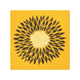 Minimalist Sunflower in Black on Custom Background Gallery Wrapped Canvas