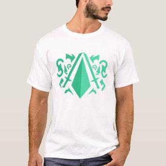 Minimalist T-Shirt with green geometric shapes