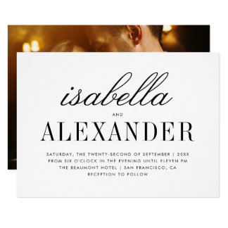 Minimalist Typography & Custom Photo | Wedding Card