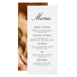Minimalist Typography & Custom Photo Wedding Menu Card