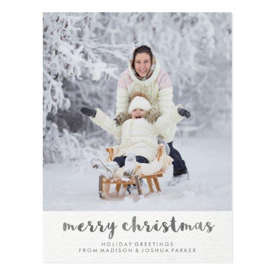 Minimalist Typography Merry Christmas Photo Postcard