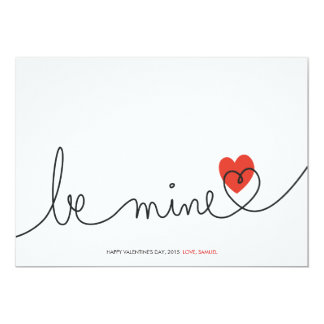 Minimalist Valentine Be Mine Modern Custom Card 13 Cm X 18 Cm Invitation Card