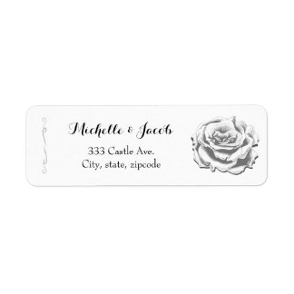 Minimalist Vintage Rose Return Address Labels