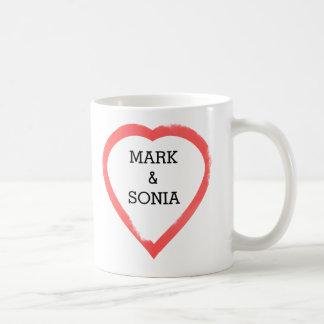 Minimalist Watercolor Wedding Heart Coffee Mug