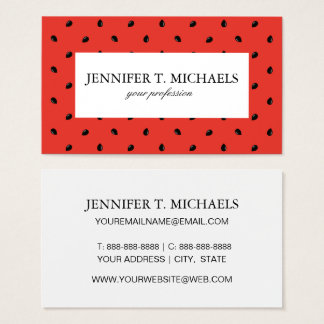 Minimalist Watermelon Seed Pattern Business Card