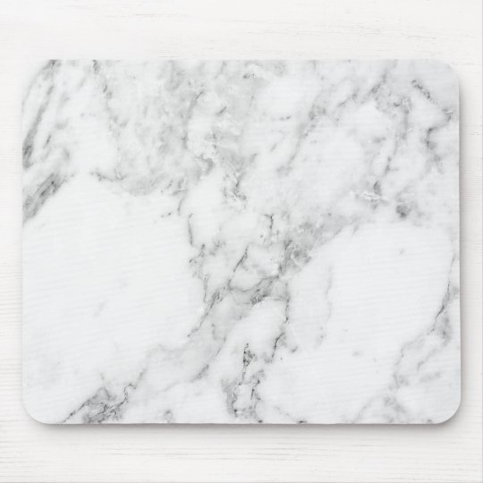 Minimalist White and Grey Marble Mouse Pad