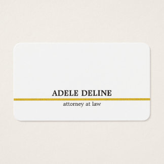 Minimalist White Gold Line Attorney Business Card