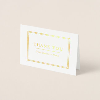 Minimalist White & Gold Thank You Foil Card