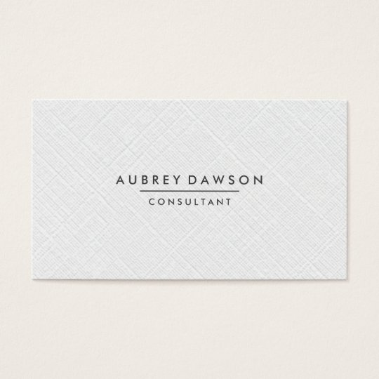 Minimalist White Linen Faux Business Card