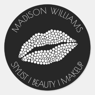 Minimalist | White Lips Stylist Beauty Makeup Classic Round Sticker