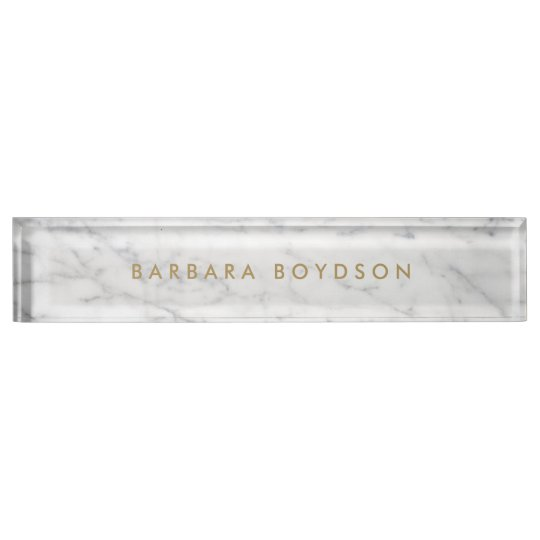 Minimalist White Marble Gold Name Personalised Name Plate