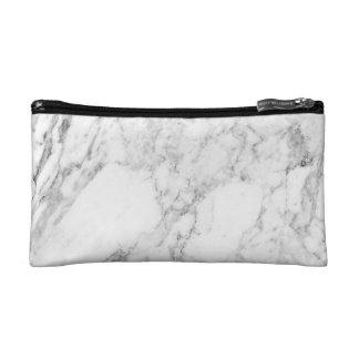 Minimalist White Marble Print Cosmetic Bag