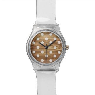 Minimalist wood polka dots. wrist watches