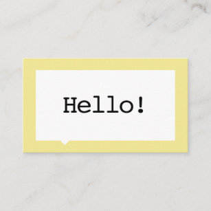 Minimalist business cards zazzle uk minimalist yellow speech bubble business card reheart Images