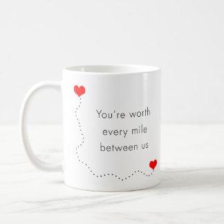 "minimalist ""you're worth every mile between us"" coffee mug"