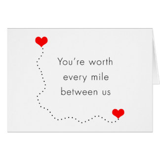 "minimalist ""you're worth every mile between us"" greeting card"