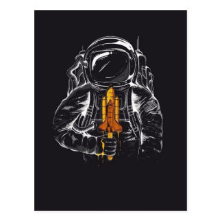 Minimalistic Astronaut Eating a Popsicle Postcard