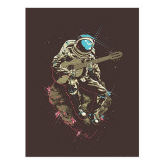 Minimalistic Astronaut Playing a Guitar Postcard