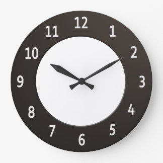 Minimalistic Black and White Large Clock