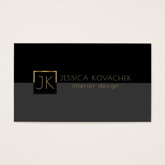 Minimalistic Black Grey & Interior Design Business Card