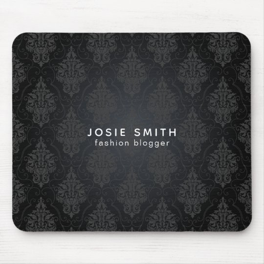 Minimalistic Black On Black Damask Mouse Mat