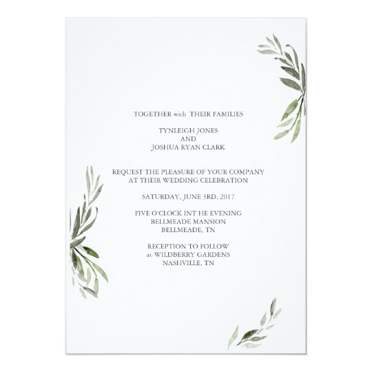 Minimalistic Branches Wedding Invitation